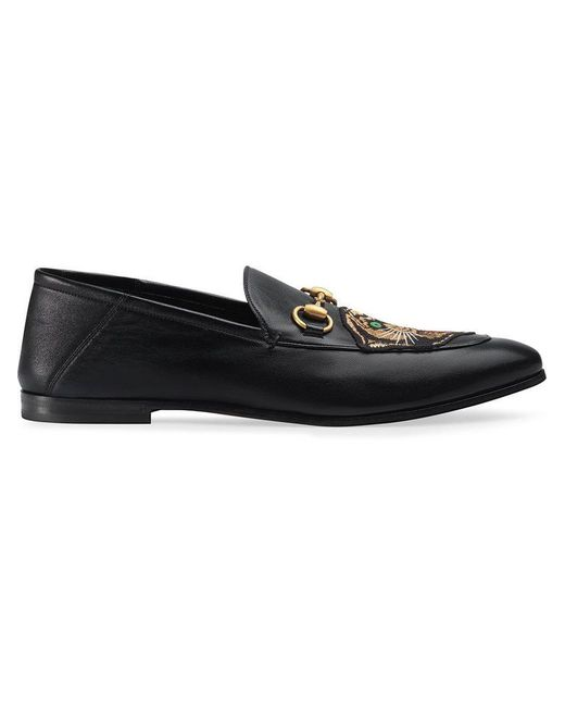 702d9af5f8f Gucci Leather Horsebit Loafer With Panther in Black for Men - Save 8 ...