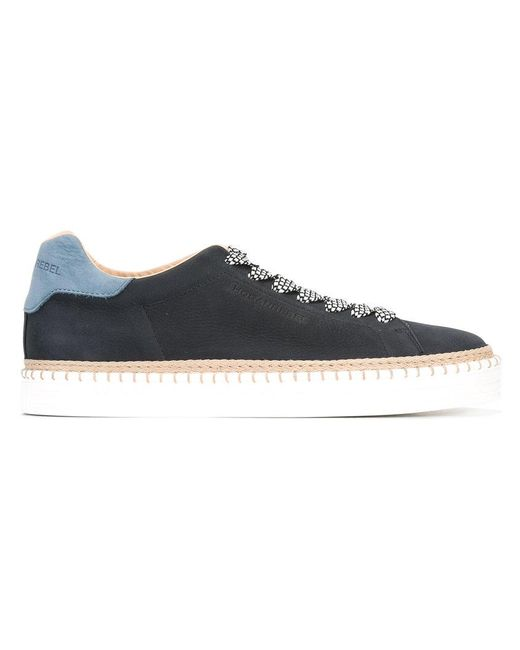 Hogan Rebel - Black Raffia Detail Lace-up Sneakers - Lyst