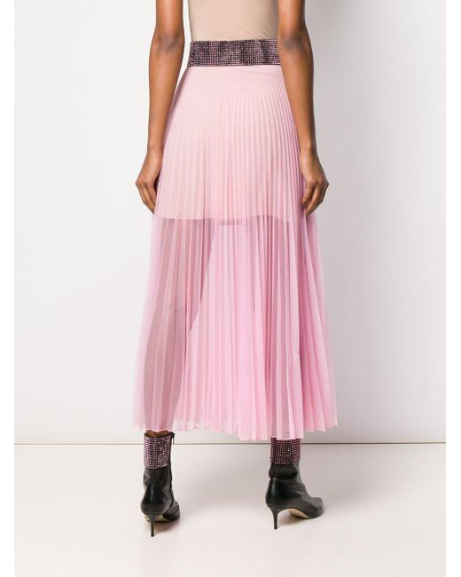5aef80f6d9 ... Christopher Kane - Pink Crystal Mesh Pleated Skirt - Lyst