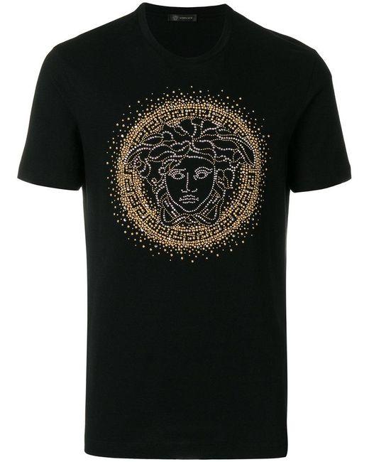 b9425bc4 Lyst - Versace Medusa Studded T-shirt in Black for Men - Save 40%