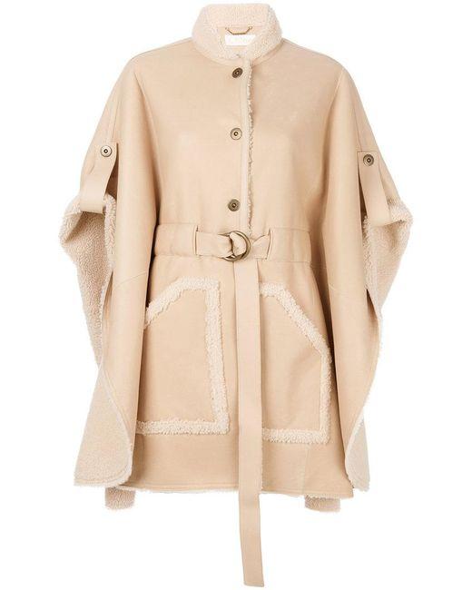 Chloé - Natural Belted Shearling Leather Cape - Lyst