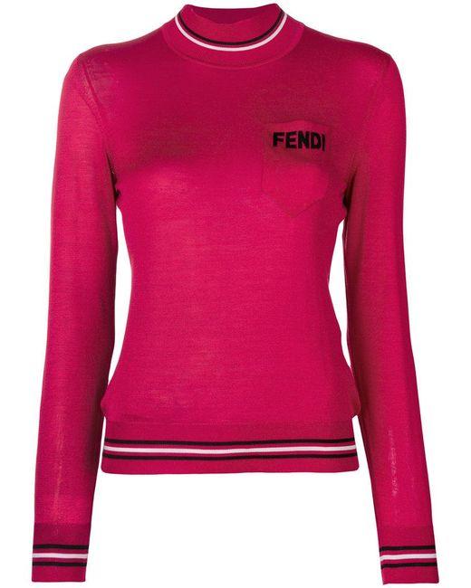 Fendi - Pink Logo Turtle-neck Sweater - Lyst