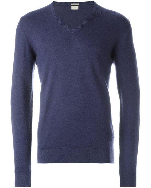 Massimo Alba   Blue V-neck Sweater for Men   Lyst