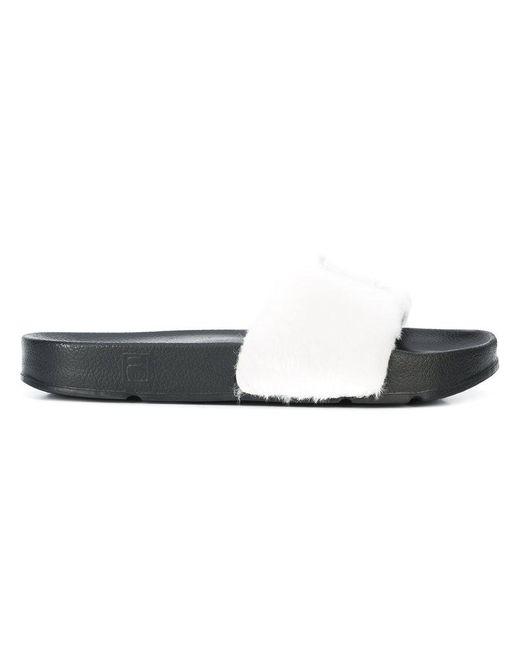 Baja East - White Fila Edition Faux Fur Slides - Lyst