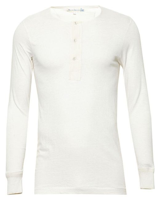 Merz B. Schwanen   White 'henley' Cotton T-shirt for Men   Lyst