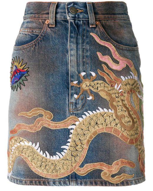 Gucci - Blue Dragon Motif Denim Skirt - Lyst