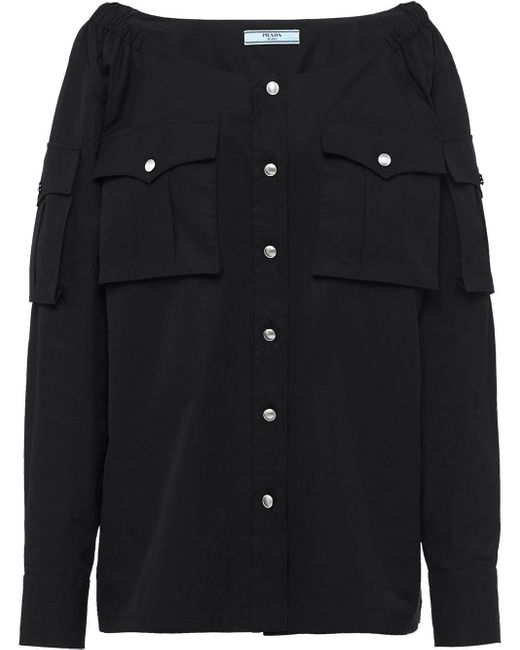Prada Black Boat Neck Buttoned Blouse