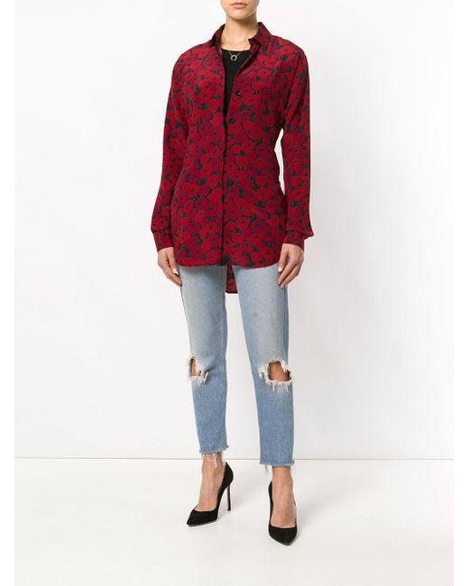 b32e4cc6c2bc4d Lyst - Saint Laurent Poppy Print Shirt in Red - Save 40%