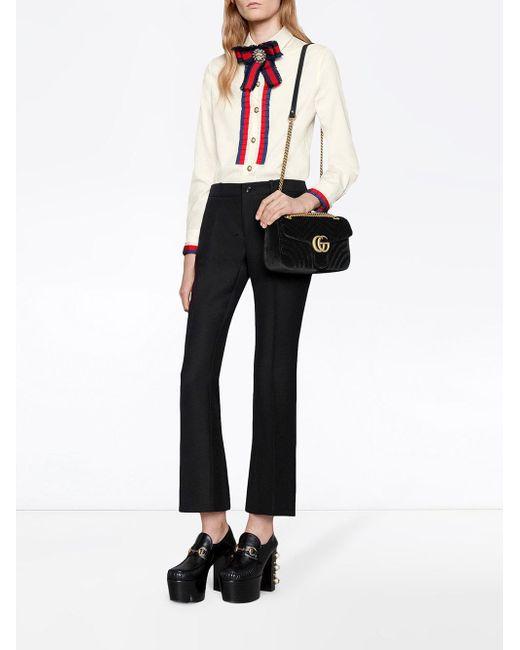 1ca50fa46612fd Gucci GG Marmont Velvet Shoulder Bag in Black - Save 27% - Lyst