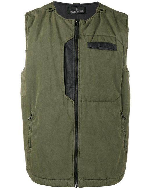 Stone Island | Green Technical Padded Gillet for Men | Lyst