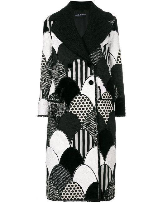 Dolce & Gabbana | Black Patchwork Coat | Lyst