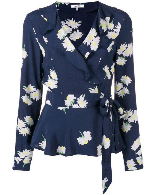 Ganni - Blue Floral Ruffle Front Blouse - Lyst