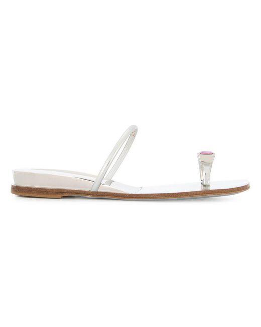 Casadei - Metallic Embellished Toe Ring Sandals - Lyst