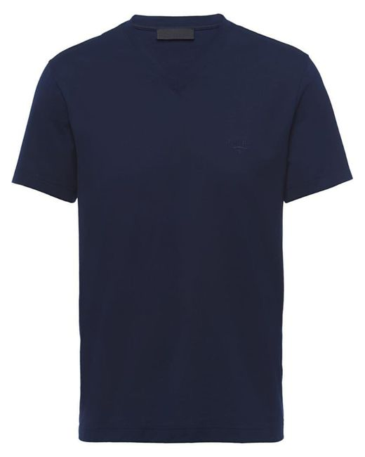 Prada - Blue Stretch Logo T-shirt for Men - Lyst