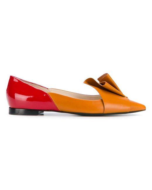 Delpozo - Orange Pleated Ballerina Shoes - Lyst