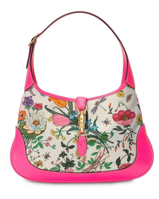 Gucci - Pink Jackie Medium Flora Hobo Bag - Lyst ... e1ea1c6182c3e