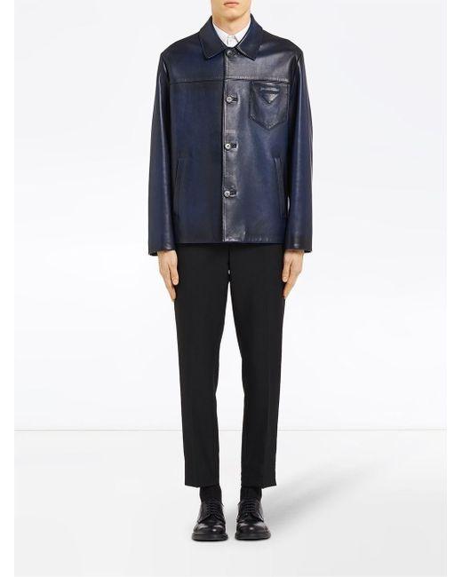 0da2fdeae92d ... Prada - Blue Waxed Leather Jacket for Men - Lyst ...