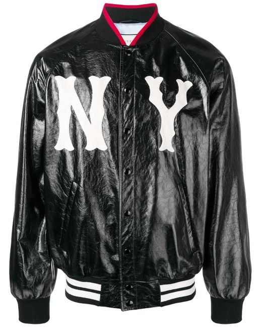 30bb12261 Gucci Ny Yankees Bomber Jacket in Black for Men - Lyst