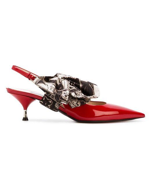 Prada - Red Bow-embellished Pumps - Lyst