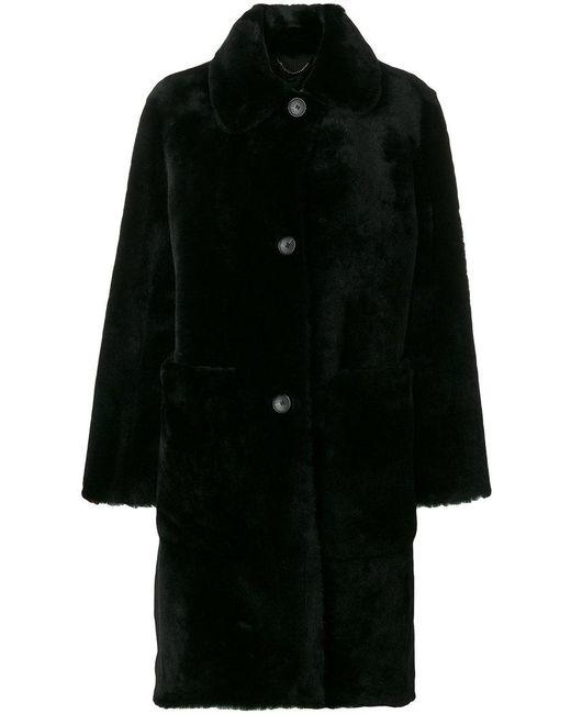 Desa Nineteenseventytwo | Black Buttoned Coat | Lyst