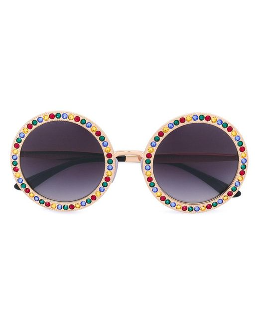 Dolce & Gabbana - Multicolor Embellished Round Frame Sunglasses - Lyst