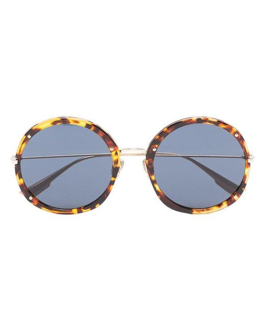 dd362c6bce6 Dior - Brown Yellow And Black 56 Round Metallic Sunglasses - Lyst ...