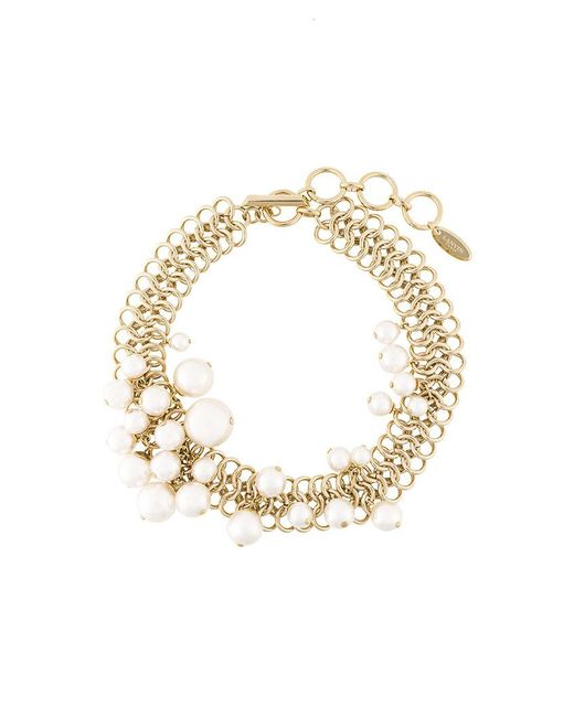Lanvin Pearl Necklace: Lanvin Pearl Necklace In Metallic
