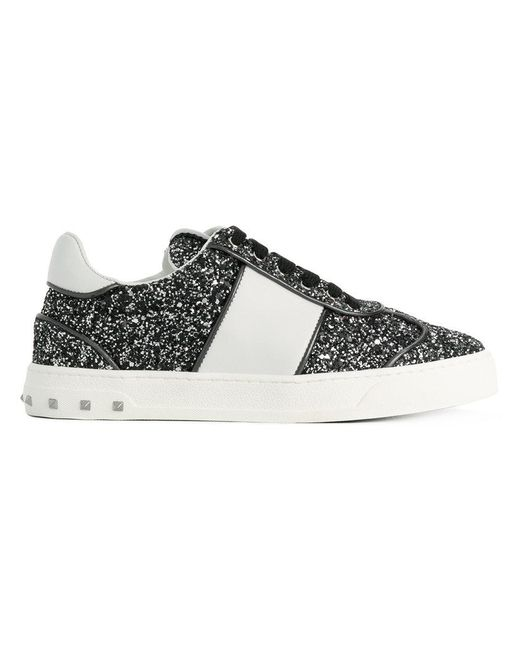 valentino white band glitter sneakers in black lyst