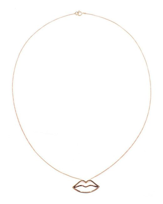 Rosa De La Cruz - Metallic 18kt Rose Gold And Brown Diamond Lips Necklace - Lyst