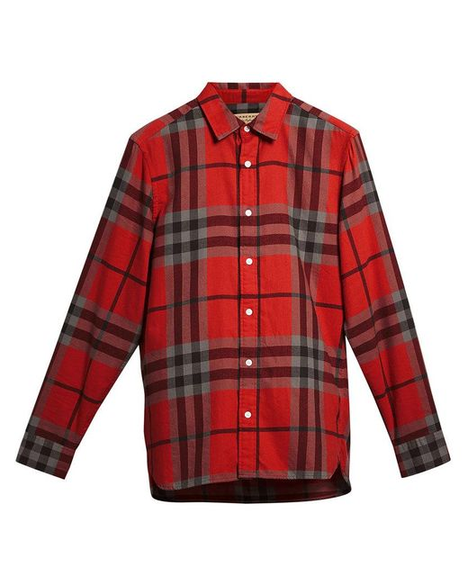 Burberry - Red Check Flannel Shirt for Men - Lyst