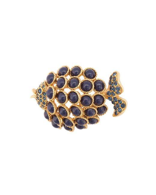 Oscar de la Renta - Metallic Cabochon Fish Brooch - Lyst