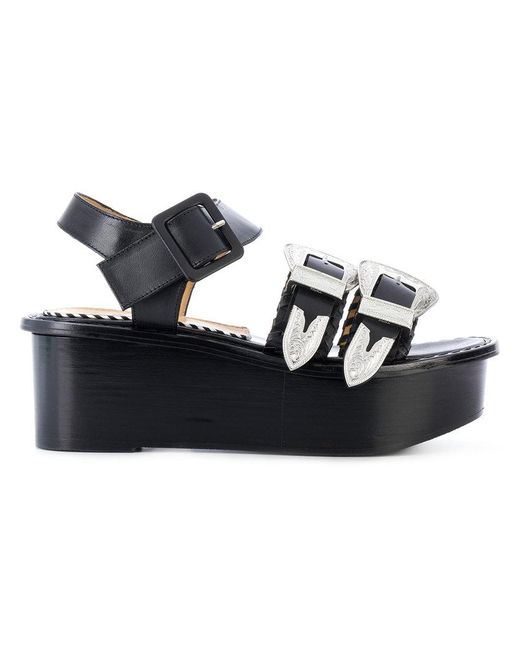 Toga Pulla - Black Buckled Platform Sandals - Lyst