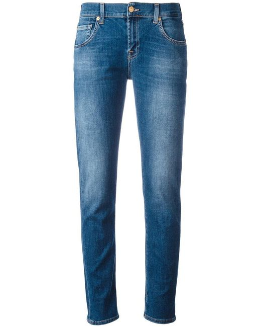 7 For All Mankind | Blue Light-wash Slim-fit Jeans | Lyst