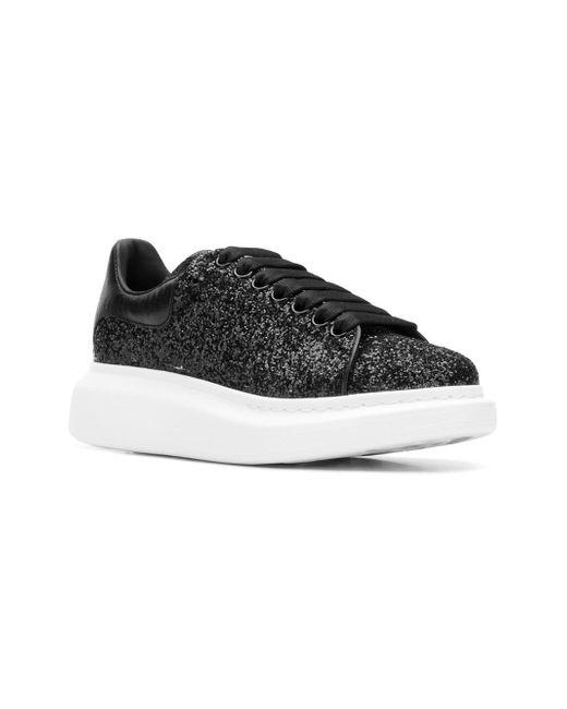 266e5e9b8ba ... Alexander McQueen - Black Glitter Leather Platform Sneakers - Lyst ...