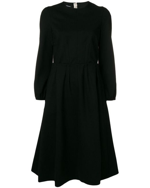 Rochas - Black Long-sleeve Flared Midi Dress - Lyst