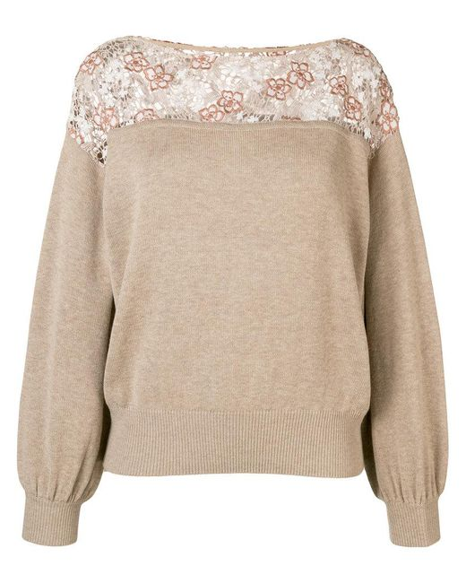See By Chloé - Natural Lace-panelled Sweater - Lyst