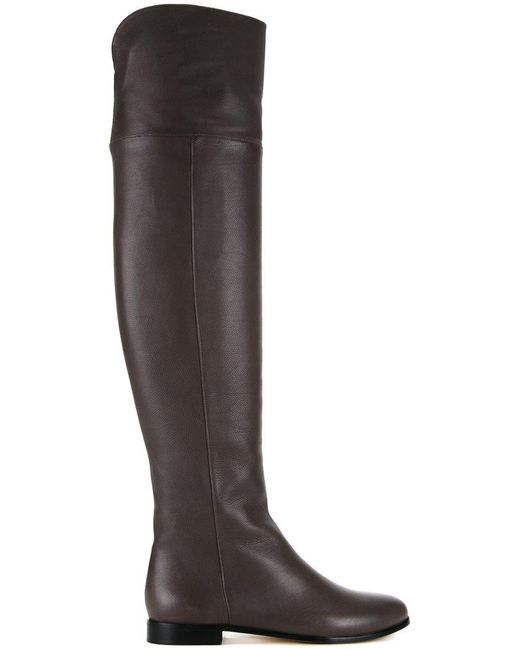 Jimmy Choo - Gray Mitty Textured-leather Over-the-knee Boots - Lyst