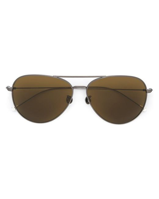 Linda Farrow | Metallic Aviator Sunglasses | Lyst