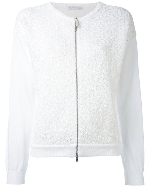 Fabiana Filippi - White Zip Up Cardigan - Lyst