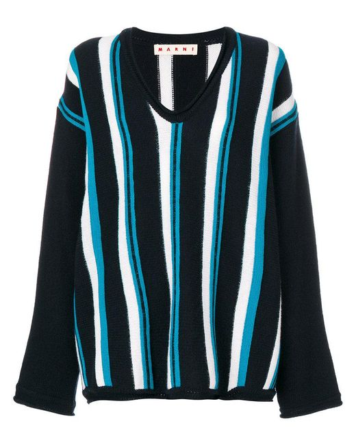 Marni | Blue Oversized Striped Sweater | Lyst