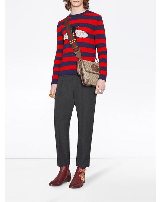 3a3edfc1575a89 ... Gucci - Blue Striped Wool Sweater With Bee for Men - Lyst ...