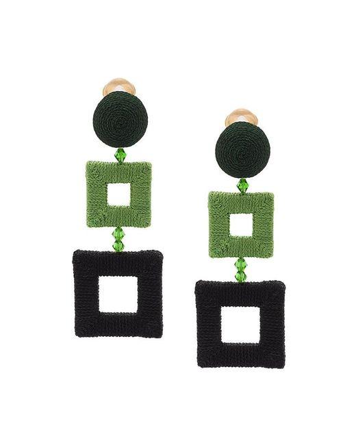 Oscar de la Renta - Green Wrapped Double Square Clip-on Earrings - Lyst