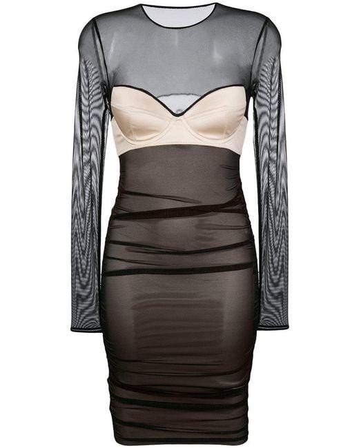 Faith Connexion | Black Mesh Bustier Dress | Lyst