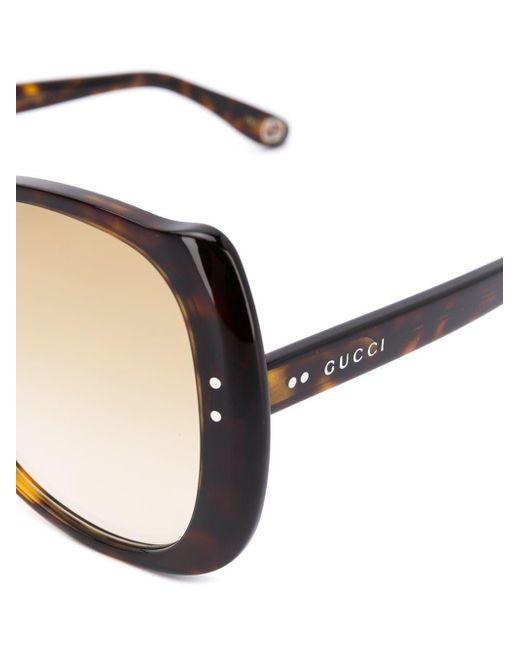 ec3a06d6f4 ... Gucci - Brown Round Frame Sunglasses - Lyst