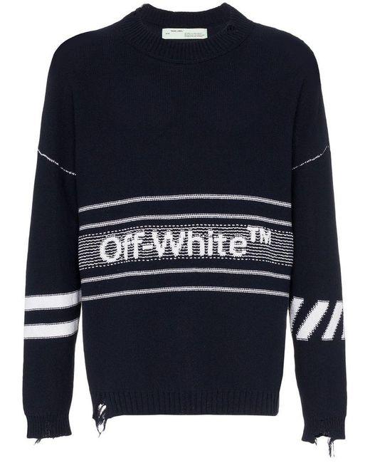 Lyst - Off-White c o Virgil Abloh Logo Distressed Jumper in Blue for ... ec421537b