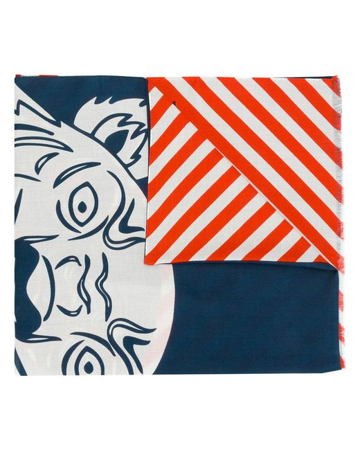 KENZO | Blue Tiger Print Scarf | Lyst