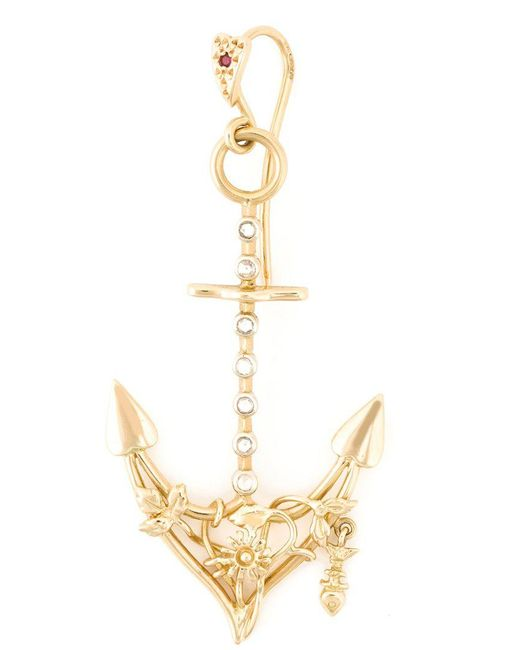 Natasha Zinko   Metallic Diamond Detail Anchor Earring   Lyst