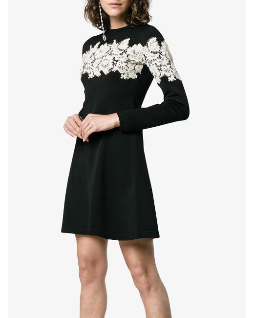 73be72b316a5 ... Valentino - Black Lace-embroidered Stretch Mini Dress - Lyst ...