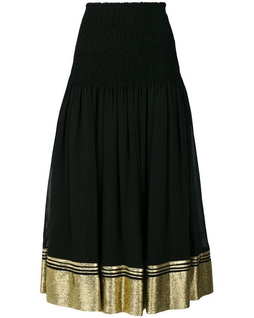 Chloé - Black Flared Contrast Trim Skirt - Lyst