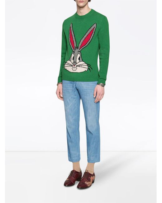 af2e97890c4 ... Gucci - Green Bugs Bunny Wool Knit Sweater for Men - Lyst ...